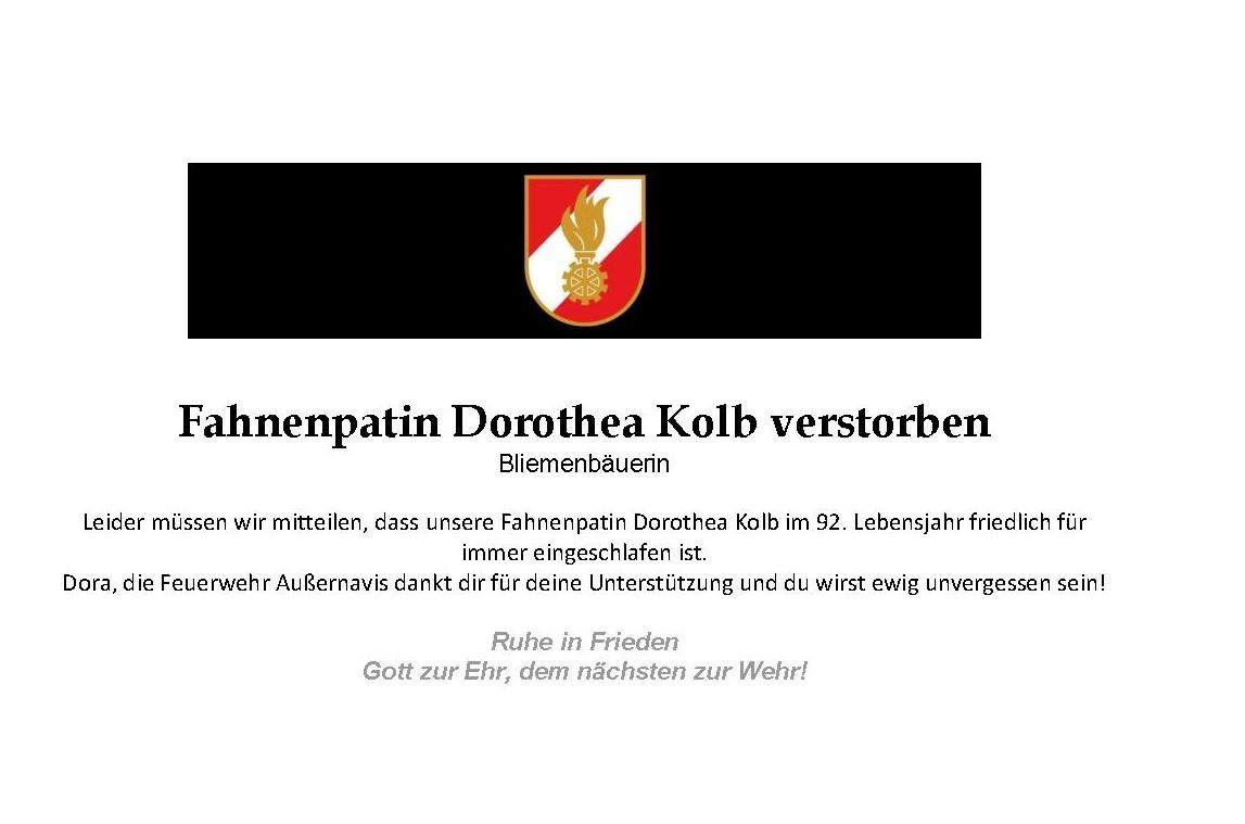 Nachruf – Fahnenpatin Dorothea Kolb